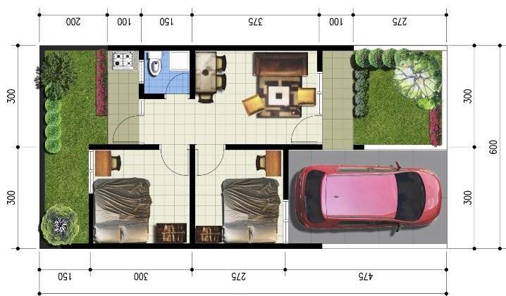 Denah Rumah Minimalis Sederhana Type 36 | denah rumah minimalis sederhana 1 lantai dan 2 lantai | Contoh Denah Rumah Minimalis Sederhana