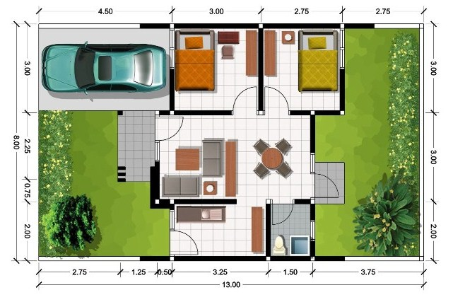 Denah Rumah Minimalis Sederhana Type 45 | denah rumah minimalis sederhana 1 lantai dan 2 lantai | Contoh Denah Rumah Minimalis Sederhana