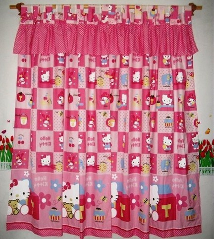 Gorden Cantik Motif Hello Kitty | harga dan model gorden kartun hello kitty murah | Harga dan Model Gorden Hello Kitty