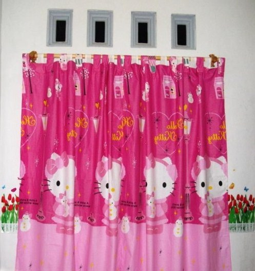 Gorden Motif Kartun Hello Kitty | Gorden Hello Kitty Warna Ungu