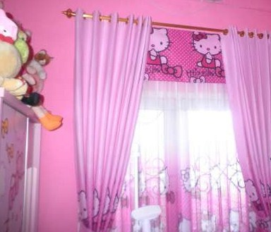 Gorden Warna Pink Hello Kitty | harga dan model gorden kartun hello kitty murah | Harga dan Model Gorden Hello Kitty