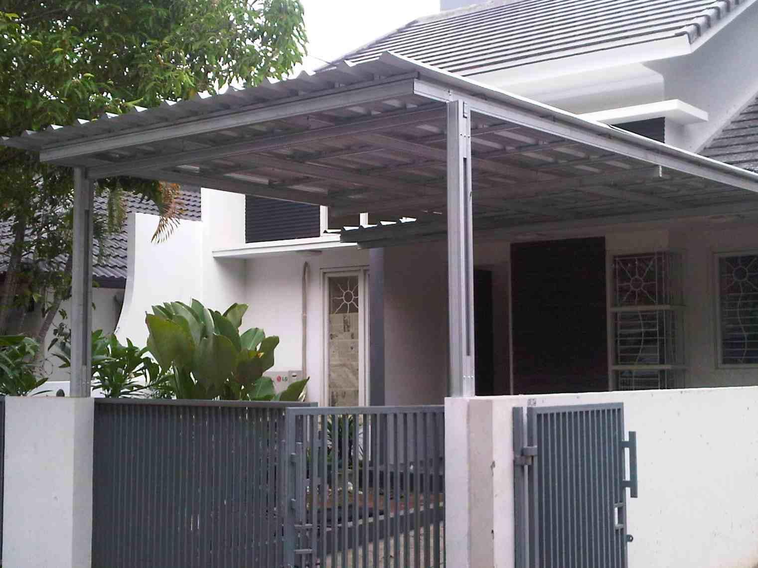 Contoh Kanopi Baja Ringan Minimalis | contoh foto dan desain kanopi rumah minimalis modern | Model Canopy Minimalis Modern