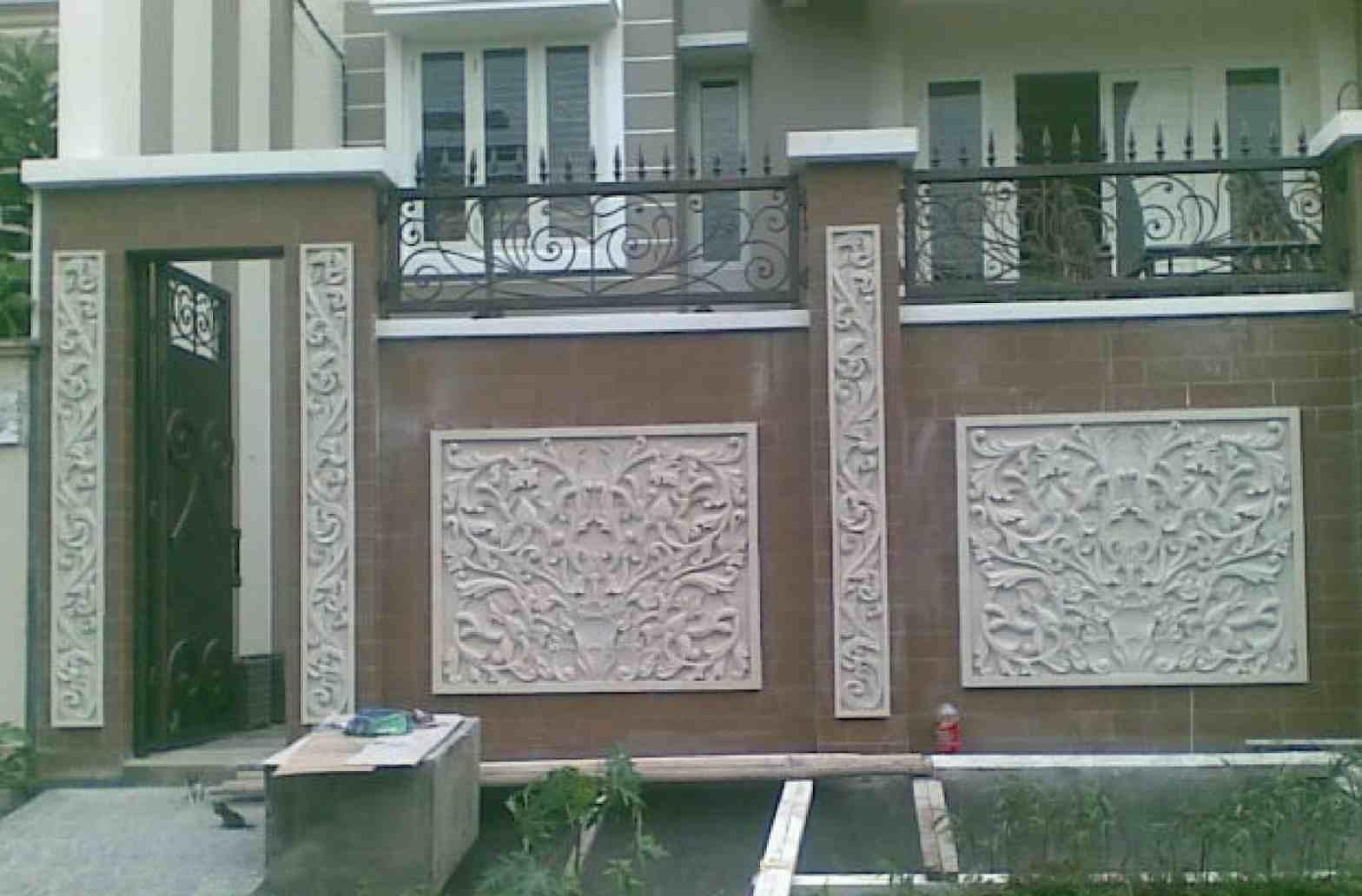 Foto Pagar Besi Minimalis Dengan Batu Alam | Desain Pagar Rumah Minimalis Dari Kayu