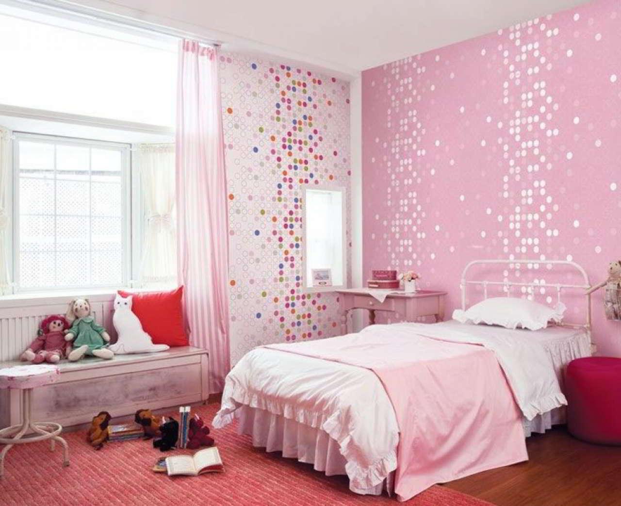 Foto Wallpaper Kamar Tidur Anak Perempuan Pink | Desain Wallpaper Kamar Tidur Utama Mewah