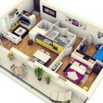 Gambar Desain Interior Apartemen 2 Kamar Tidur Modern