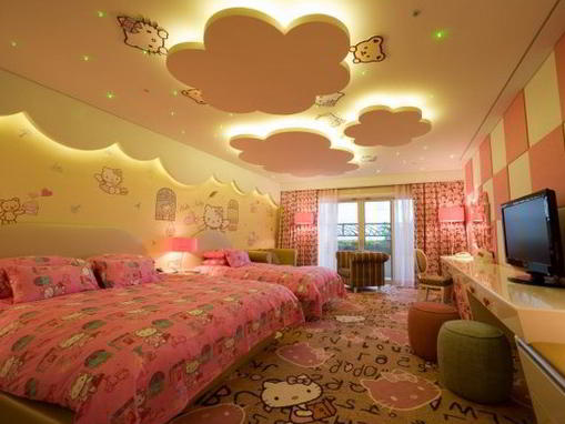 Motif Plafon Kamar Tidur Anak Hello Kitty | Model Plafon Gypsum Kamar Tidur Utama